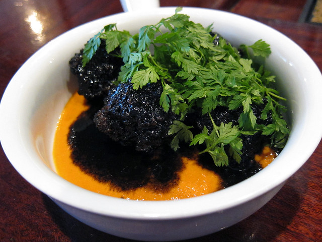squid ink meatballs