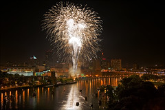 fireworks over st. paul minnesota july 4th (Dan Anderson.) Tags: show reflection water minnesota night river mississippi boats downtown display fireworks smoke explosion stpaul july4th 4thofjuly saintpaul independenceday mn extravaganza explosive highbridge p