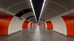 Westbahnhof (Antti Tassberg) Tags: vienna wien street city urban orange building geometric station underground subway austria sterreich spring europe metro tunnel symmetry hallway ubahn symmetric symmetrical u3 metroasema tunnel