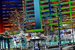 Bus Stop (Annette LeDuff) Tags: street trees color silhouette fence buildings person pavement pedestrian busstop sidewalk lamppost abstraction mosca digitallyaltered detroitmi detroiteveryday beautyispower damncoolphotographersintheworld digitaldetroit sharingart screamofthephotographer worldwidetravelogue detroitgroup artwithoutend flickrshutterspace photoannetteleduff annetteleduff thefouroutlaws 12252011