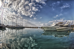 stay away from my sunshine (dtsortanidis) Tags: blue winter sea sky sun white seascape cold reflection beautiful weather clouds port marina photoshop canon reflections skyscape lens boats spring interesting day mare harbour mark awesome sunny 15 fisheye greece ii l 5d mm fusion ef hdr circular 815 meteorology unstable mkii dimitris f40 phenomenon patras patra dimitrios photomatix 815mm tsortanidis
