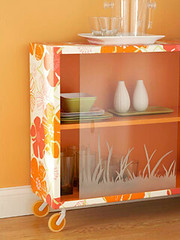 Wallpaper Rolling Cabinet (Heath & the B.L.T. boys) Tags: wallpaper orange inspiration ikea glass diy diningroom dcoupage decorate casters