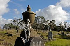 shy gargoyle seeks new home (pukunui81) Tags: newzealand cemetery graveyard urn canon toy doll cam gargoyle auckland gravestones 550d t2i waikumetecemetery canoneos550d createamonster monsterhigh