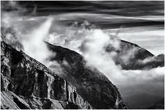 A great Day to come... (Ody on the mount) Tags: berge dolomiten felsen fototour himmel italien morgenlicht rahmen sdtirol urlaub wolken bw monochrome sw marebbe trentinoaltoadige it