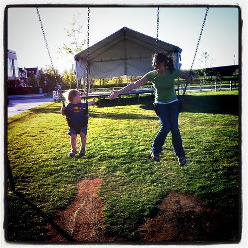 Grahm & I on the swings after a sushi dinner