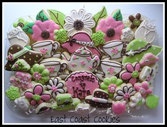Wedding Shower Platter (East Coast Cookies) Tags: cookies decoratedcookies englishteaparty cookieplatter flowercookies teapartycookies weddingshowerplatter englishteapartyplatter