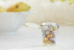 ... (borealnz) Tags: white glass lensbaby easter focus pastel pale jar eggs colander lid quince eastereggs lensbabyedge80