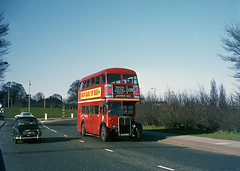 RT3695 on the 139 route,Off the A12 near Chadwell Heath. 1969. (David Christie 14) Tags: bus 139 romford