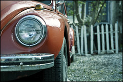 Beetle in the alleyway (Eric Flexyourhead) Tags: city urban canada detail car vw vancouver bug volkswagen alley bc bokeh britishcolumbia beetle fender german lane headlight strathcona fragment type1 typei olympusep1 panaleica25mmf14 leicadgsummilux25mmf14asph