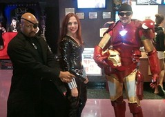 The Avengers: Black Widow, Tony Stark and Nick Fury (MorpheusBlade) Tags: costume cosplay bald ironman blackwidow marvel comiccon comicon samuelljackson nickfury theavengers natasharomanoff ultimatenickfury finalescalation