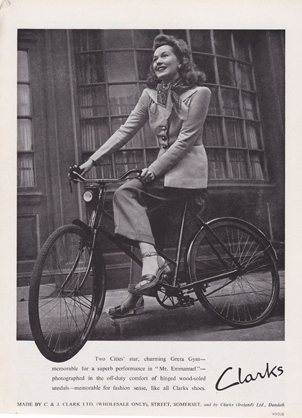 bike wooden women shoes vogue cycle 1945 clarks wartime shelfappeal