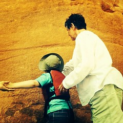 Touching the Navajo Sandstone for good luck! #coloradoriver #navajosandstone #coloradoriverdiscovery