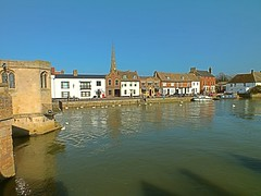 The Quayside, St Ives, Cambridgeshire, taken from The Chapel Bridge, on the River Great Ouse. 09 03 2014 (pnb511) Tags: seagulls water birds reflections river swans fowl stives cambridgeshire chapelbridge rivergreatouse