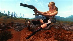 TESV - Gunslinger (tend2it) Tags: kenb elder scrolls skyrim v rpg game pc ps3 xbox screenshot sweetfx enb krista demonica race sg lilith 161 felicia jump shot jumping gun gunslinger action evening dress boots black white