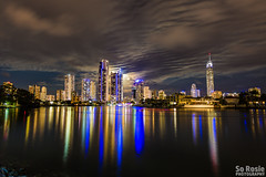 Moon rise over the Gold Coast (rosieheares) Tags: moon city sky reflection goldcoast moonrise lights shiny shiney clouds