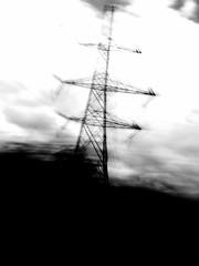 pylon (friendlydrag0n) Tags: white black blur monochrome electric speed mono high movement wire utility cable move pole pylon rush electricity tension icm intentionalcameramovement