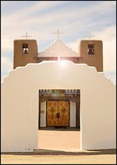(K. Sawyer Photography) Tags: church chapel taospueblonewmexico pueblo cross arch doors bells