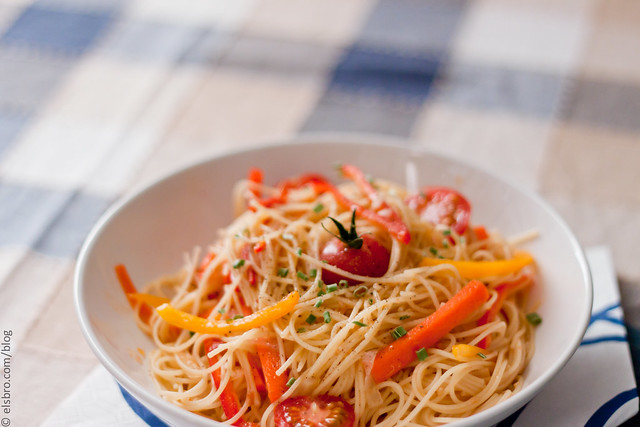 Capellini w/ Farmer's Market Veggies