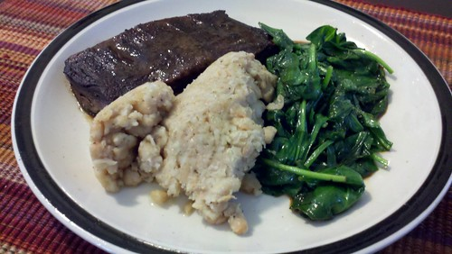 Skirt Steak and Garlic White Bean Mash