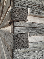 "Weathered dood grain detail of a log cabin (IronRodArt - Royce Bair (""Star Shooter"")) Tags: wood old detail building time logs weathered aged cracked materials decayed decaying"