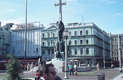 Savoy Theatre (previously Liberty theatre), Warners, Christchurch New Zealand c 1976 (Yvonne Thompson) Tags: christchurch fountain square statues crucifix willie 1970s weavers savoy warners savoytheatre woolshop