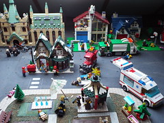 Loft Town is getting larger (Paranoid from suffolk) Tags: city houses truck town village lego ambulance refuse creator hogwarts 2014