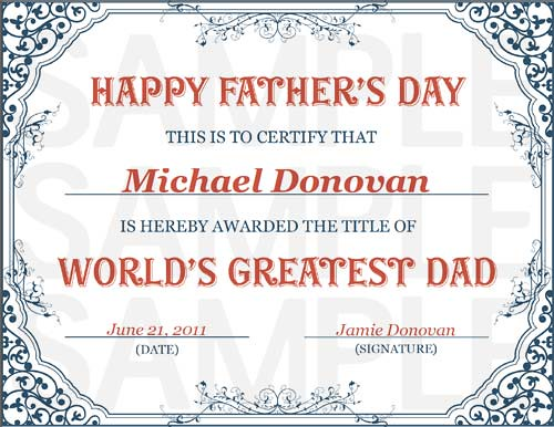 World's Greatest Dad Certificate (A4)