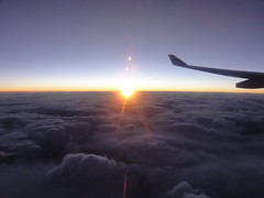 Daybreak on B-LAF - CPA A330 (SamChung94) Tags: new morning travel sky sun cold ice broken up clouds plane sunrise happy high cool frost day skies pacific bright air over wing dream surreal australia outback dreamy rays cathay