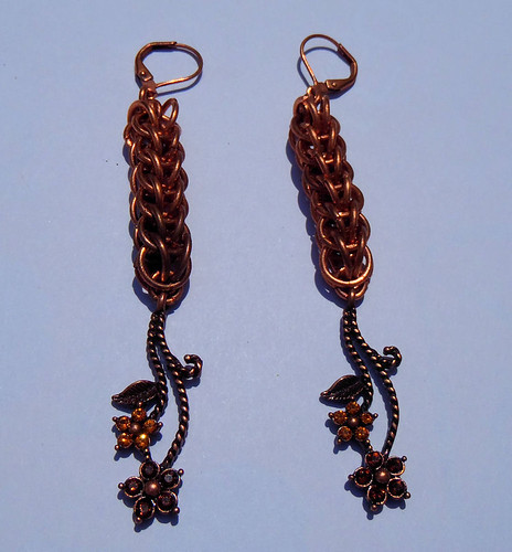 Full Persian Copper and Swarovski Earrings