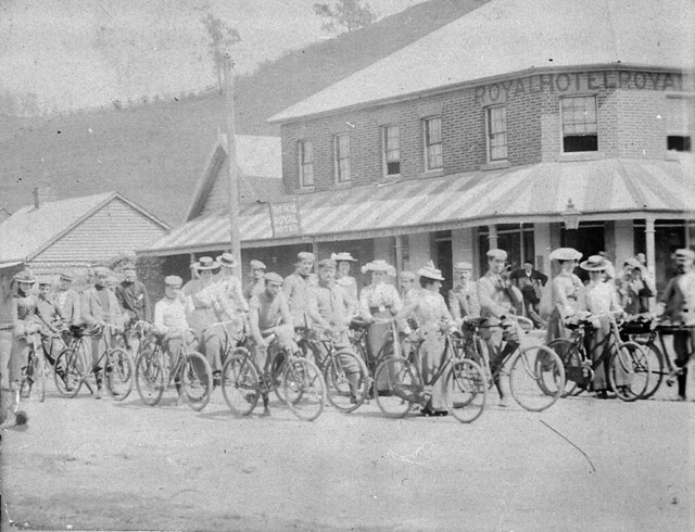 Waratah Rovers Bicycle Club (WRBC) on tour. Sydney - Campbelltown - Appin - Bulli - South Coast. Photo taken at Picton outside the Royal Hotel - Picton, NSW, October 1900