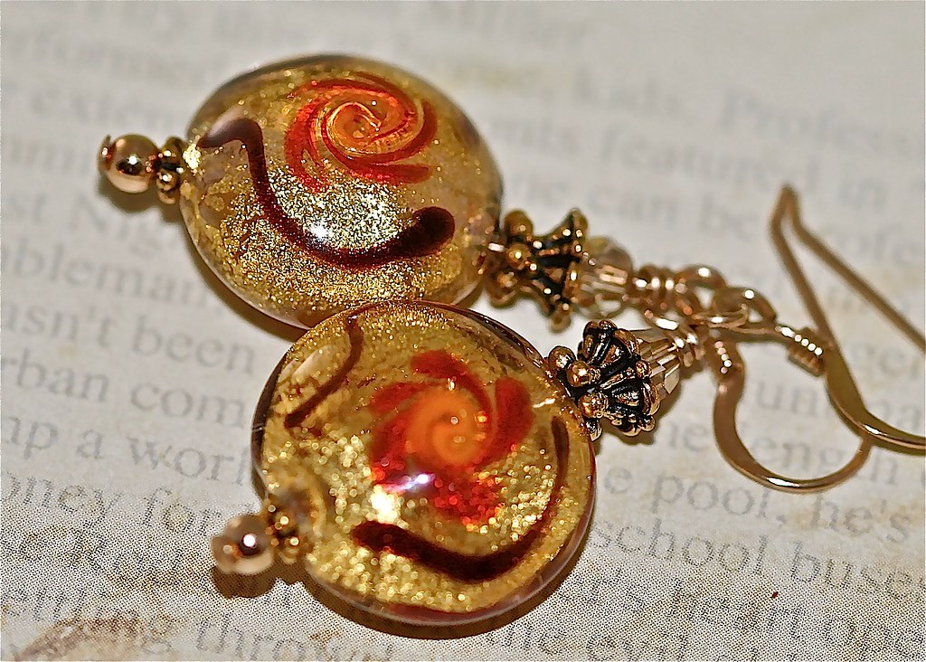 Venetian Lampwork Gold Foil Earrings