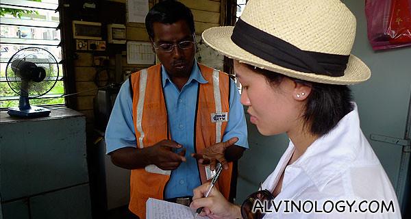 Rachel interviewing Mr Manikavasam