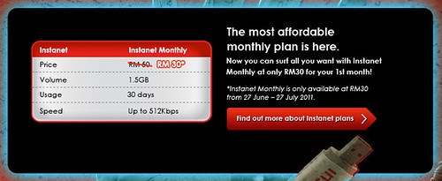 Special promo price of only RM30 for Instanet Monthly