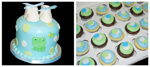 Blue and Green Baby Shower Cupcake Tower with Frog and Dragonfly