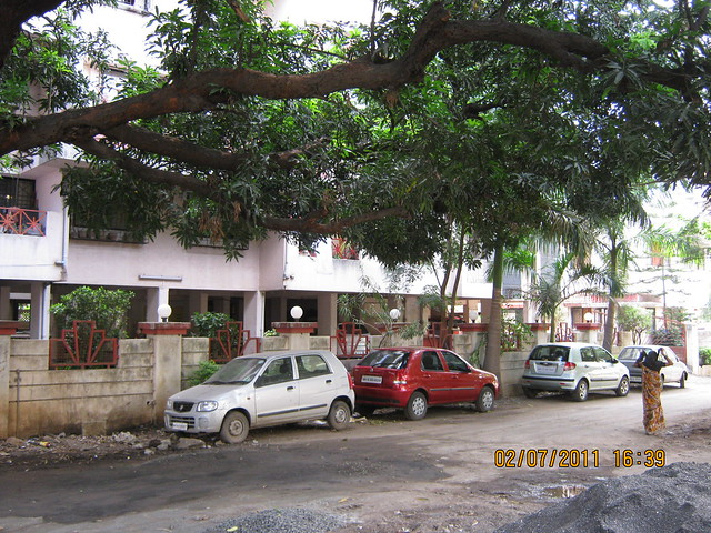 Old Trees and Cars Parked on the road to Pate Developers' Kimaya, 2 BHK Flats, Suvarna Nagari, Swami Vivekanand Road, Bibwewadi, Pune 411 037