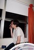 (misswhitlynn) Tags: man window fan cigarette smoking curtains dormroom cigarettesmoke