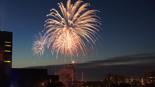 Fireworks Over the Stone Arch Bridge