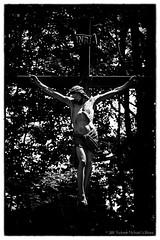 Jesus the Nazarene, King of the Jews (Robert m Williams) Tags: ontario canada statue garden death cross symbol decay jesus crack crucifix weathered cracked yeshua crucifixion kenilworth wellingtoncounty religiousfigure