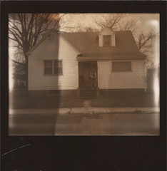 House (allistancil) Tags: street house selfportrait film home me girl polaroid outside spring photographer maryland instant spectra teenage blackframe impossibleproject