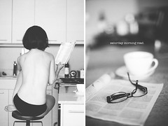 12/365...a saturday morning (phoenix_1981) Tags: selfportrait canon diptych tea wig 50 today psychology f12 readingglass womanreading impliednude project365