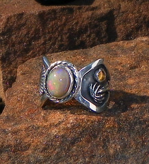 Sunset in Paradise 1.57 ct natural opal and sapphire set in handcrafted sterling silver palm and Shell ring  . (leespicedragon) Tags: art silver cool natural ooak shell jewelry ring palmtree handcrafted sterling ethiopia opal sapphire wollo sunsetinparadise 157ct