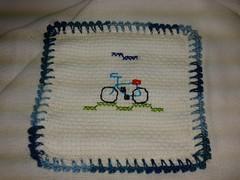 Fralda de Boca - Bicicleta F003 (SaluArts) Tags: de pano cruz infantil bebê boca ponto paninho fralda fraldinha enxoval