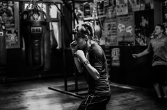 Female Boxer. Training in Bristol Boxing Gym, May 2014 (sophie_merlo) Tags: bw woman sport bristol blackwhite boxing 1000 femaleboxer womanboxer bristolboxinggym westcountryboxing ladydebbytarrant