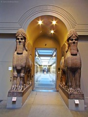 Colossal statues of a winged human-headed bull [left] and a winged lion [right]  (British Museum) (SariChile) Tags: uk inglaterra travel viaje england london statue museum londres british britishmuseum wingedbull assyrian 2014 wingedlion ashurnasirpal