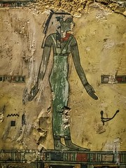 Closeup of Outer coffin of Meret-it-es Egypt Late Period to Ptolemaic Period, 30th Dynasty to early Ptolemaic Dynasty 380-250 BCE Wood Pigment and Gesso (mharrsch) Tags: coffin death burial funerary 30thdynasty ptolemaicdynasty lateperiod ptolemaicperiod religion myth goddess deity ancient nelsonatkins museum kansascity missouri mharrsch