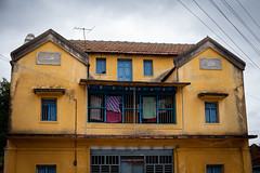 Interesting house (Scalino) Tags: india karnataka tourism belur halebid halebeed halebeedu hoysala yellow house heritage
