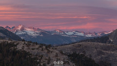 Sunset over the Cathedral (au_ears) Tags: alpenglow california cathedralrange yosemite snow sunset mtanseladams mtflorence water sky mtlyell yosemitevalley 2016 electrapeak northdome clouds