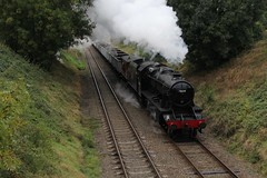 LMS Stanier 2-8-0 8F No. 48624 approaches Quorn  & Woodhouse at Woodthorpe, with 9C13 Windcutter Minerals during the GCR Autumn Gala on a overcast 8th October 2016 © (steamdriver12) Tags: gcr autumn gala 8th october 2016 great central railway heritage preservation locomotive main line leicestershire lms stanier 280 8f no 48624 quorn woodhouse mixed train goods smoke steam coal oil