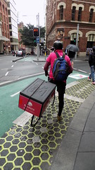 Sydney city NSW Bicycle tracks in roadway 8 (track crossing) - Sept 2016 (nicephotog) Tags: sydney nsw road city transport green bicycle track traffic signal lights crossing pedestrian