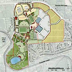 """""""park and village"""" scenario , with part of site remaining as is (by: Dover, Kohl via draft Redevelopment Plan)"""